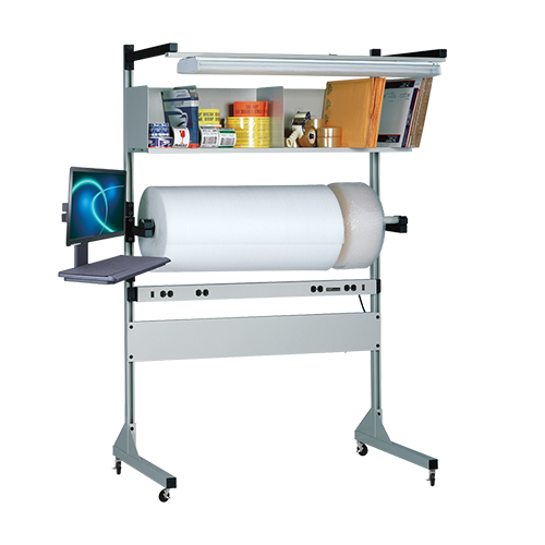 iac industrial packaging accessory station with roll storage