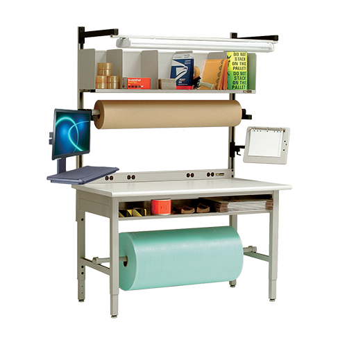 iac industrial packaging station with roll storage