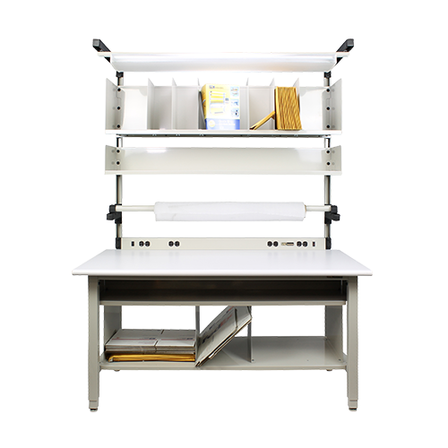 iac warehouse packaging workbench with shelves and light