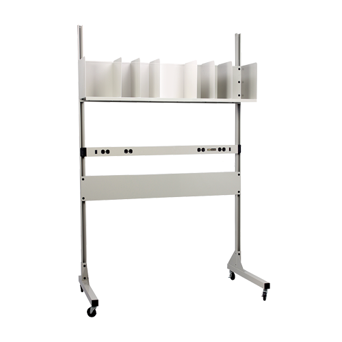 iac industrial packaging accessory station with shelves and dividers